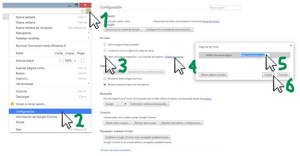 Google Chrome - Hacer página de inicio